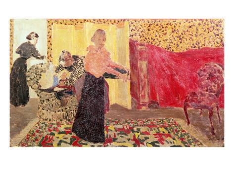Three Women in an Interior with Rose Wallpaper, 1895 Giclee Print