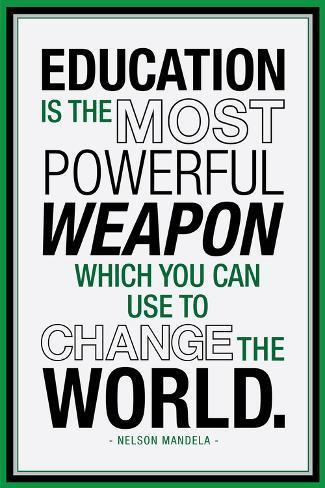 Education Nelson Mandela Quote Póster