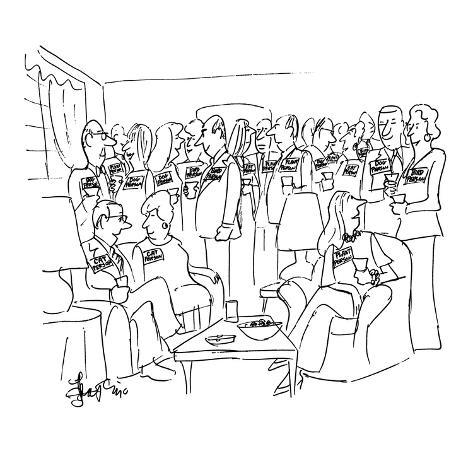 People at party all have name tags which have written on them, 'Cat Person… - New Yorker Cartoon Premium Giclee Print