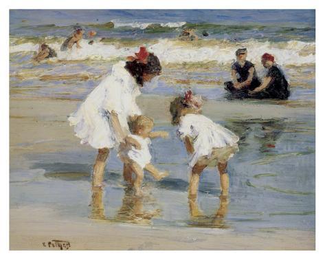 Niños jugando en la playa Lámina