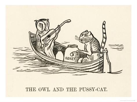 The Owl and the Pussy-Cat Went to Sea in a Beautiful Pea- Green Boat Giclee Print