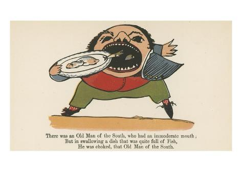 There Was an Old Man of the South, Who Had an Immoderate Mouth Giclee Print