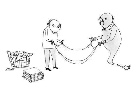 A man and a genie work together to fold laundry. - New Yorker Cartoon Premium Giclee Print