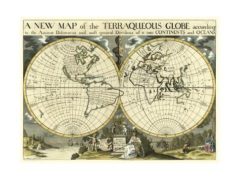Map Of Uk On Globe.New Map Terra Globe Ox 1700 01 Posters By Edward Wells