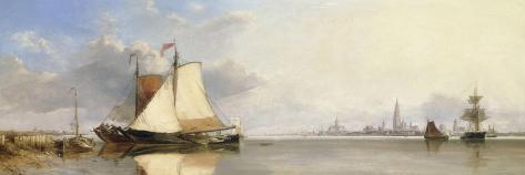 Antwerp from the Scheldt, Morning, 1844 Giclee Print