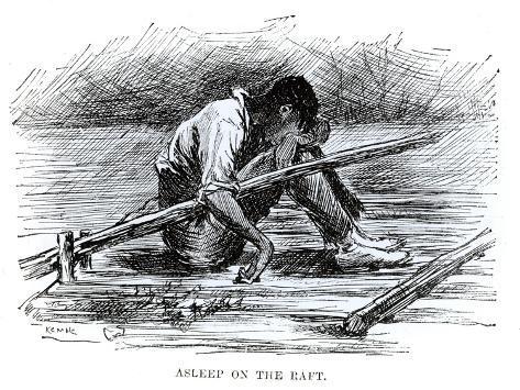 Asleep on the Raft, Illustration from 'The Adventures of Huckleberry Finn', by Mark Twain Giclee Print