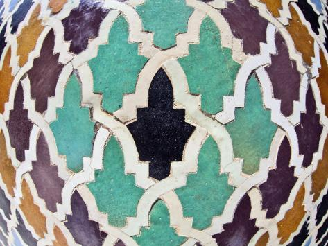 Tiled Mosaic Inside Bou Inania Medersa, Fez, Morocco, North Africa, Africa Photographic Print