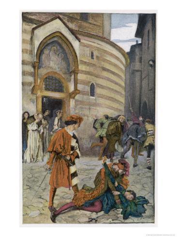 Romeo and Juliet, Act III Scene I, The Death of Mercutio Romeo's Friend Giclee Print