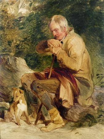 An Old Man And His Dog Seated By A Road Side Giclee Print