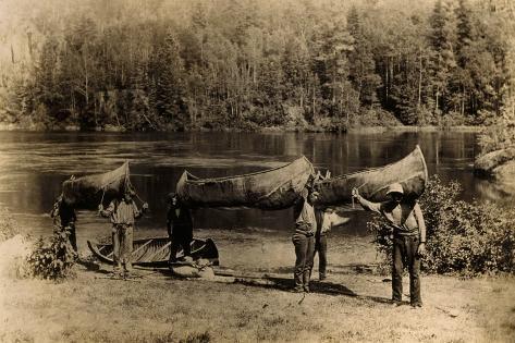 Nepigon (Nipigon), Ottawa, Algonkin and Ojibway Canoes Lámina fotográfica