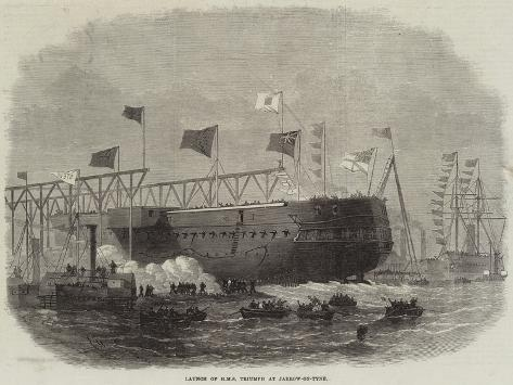 Launch of HMS Triumph at Jarrow-On-Tyne Stampa giclée