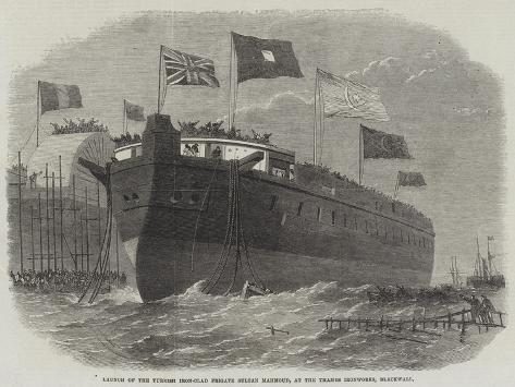 Launch of the Turkish Iron-Clad Frigate Sultan Mahmoud, at the Thames Ironworks, Blackwall Stampa giclée