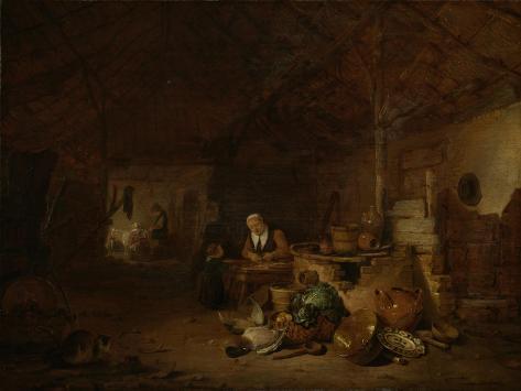 A Farmer Seated in the Barn Art Print