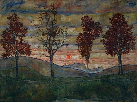 Fyra träd, 1917 Gicléetryck