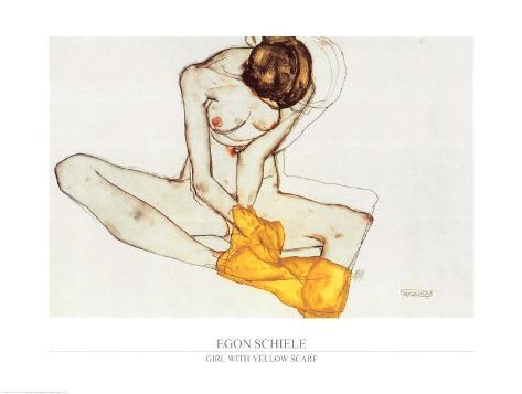 Girl with Yellow Scarf Art Print