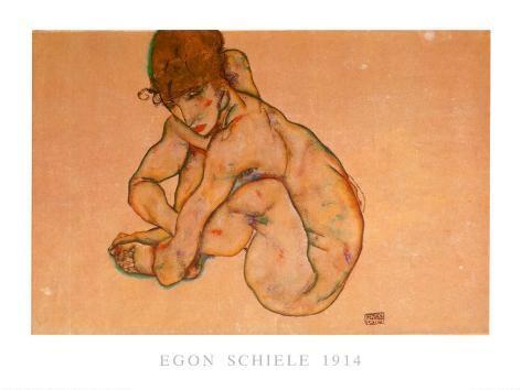 Kauernder Weiblicher Akt, 1914 Art Print