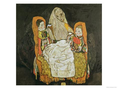 Mother with Two Children, 1917 Giclee Print