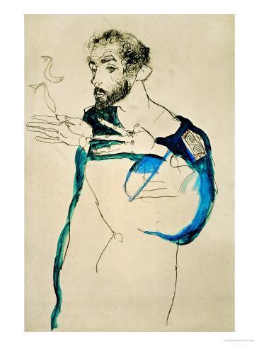 Painter Gustav Klimt in His Blue Painter's Smock, 1913 Giclee Print