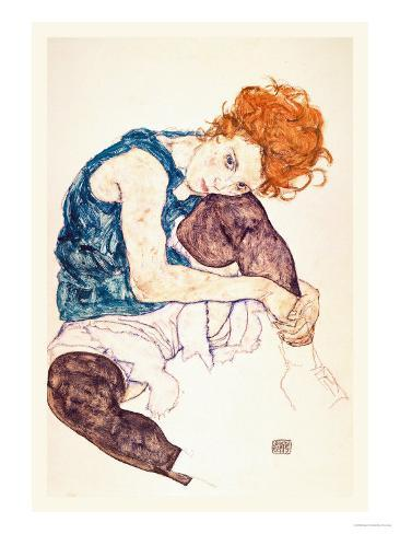 Painter 39 s wife seated stampe di egon schiele su for Egon schiele pittore