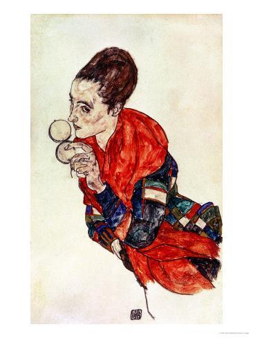 Portrait of the Actress Marga Boerner with Compact, 1917 Giclee Print