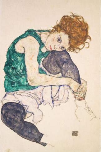 Seated Woman with Legs Drawn Up Giclee Print