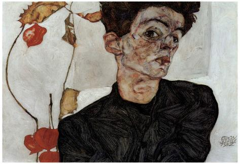 Egon Schiele (Self-portrait with fruit Lampion) Art Poster Print Póster
