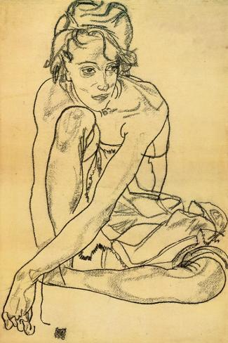 Woman Crouching, 1918 Reproducción de lámina sobre lienzo