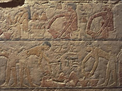 Egypt, Cairo, Ancient Memphis, Saqqara, Painted Relief at Mastaba at Ti Giclee Print
