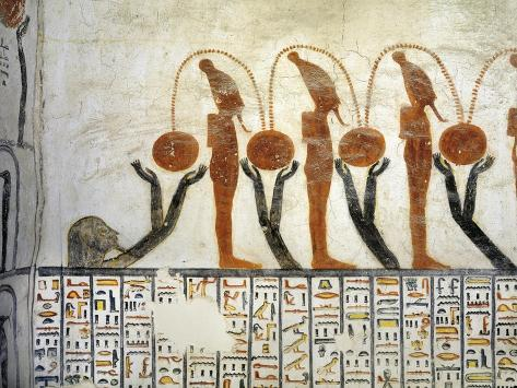 Egypt, Mural Painting of Osiris and Nut from Illustrated Book of the Earth in Burial Chamber Giclee Print