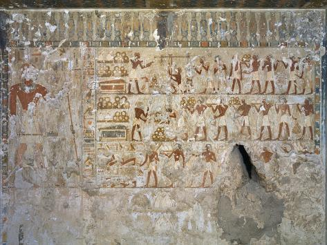 Egypt, Tomb of City Governor and Vizier Hepu, Mural Paintings Showing Craftsmen Giclee Print