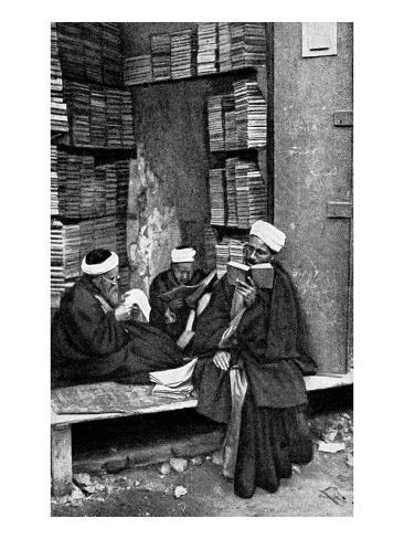 Egyptian Students in Front of a Bookshop in Cairo Stretched Canvas Print