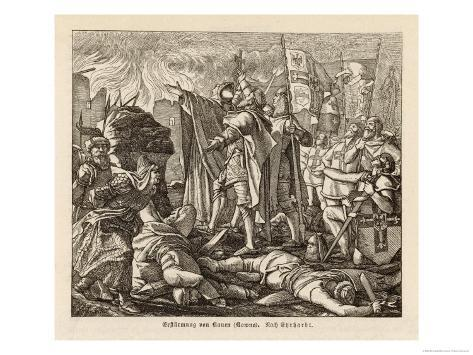 The Teutonic Knights Take the Town of Kaven (Now Kowno) in Eastern Prussia Giclee Print