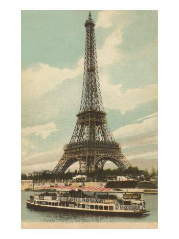 Eiffel Tower and Boat on the Seine Art Print