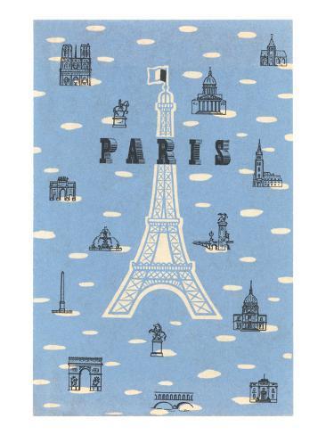 Eiffel Tower and Various Paris Motifs Art Print