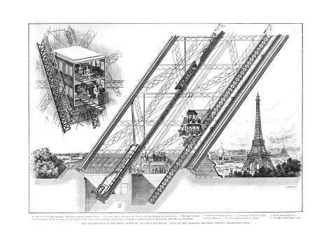 Eiffel Tower Elevator, 1889 Giclee Print