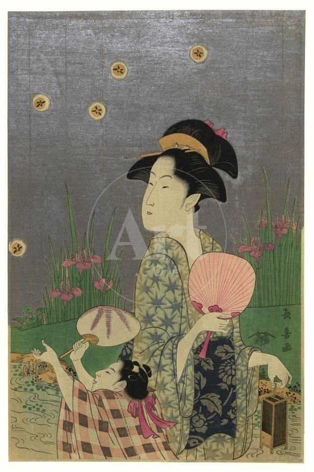 Catching Fireflies Or Lightning Bugs With A Child Prints By Eishosai