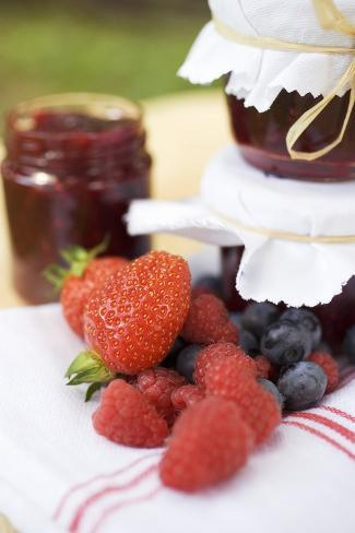 Berry Jam as a Gift and Fresh Berries Photographic Print