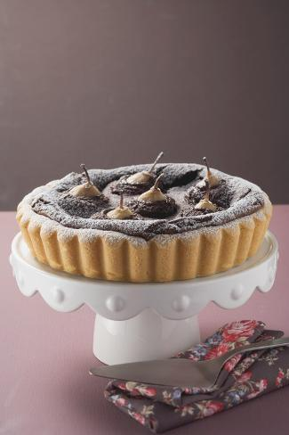 Pear and Chocolate Tart on Cake Stand Photographic Print