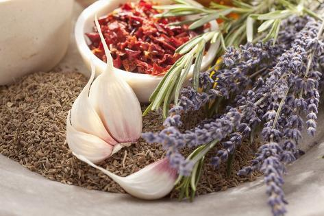 Spices, Garlic, Lavender and Rosemary Photographic Print