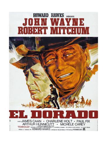 El Dorado, Robert Mitchum, John Wayne, French Poster Art, 1967 Impressão giclée