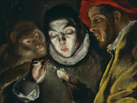 Fabula, Around 1600, a Boy Lights a Candle, as a Monkey and a Bearded Figure Watch Giclee Print