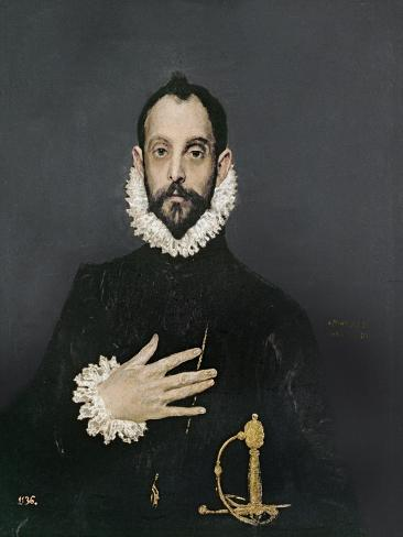 Gentleman with His Hand on His Chest, C.1580 Lámina giclée