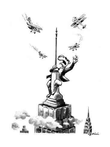 Joe Camel fights off biplanes on the Empire State Building as if he were K… - New Yorker Cartoon Premium Giclee Print