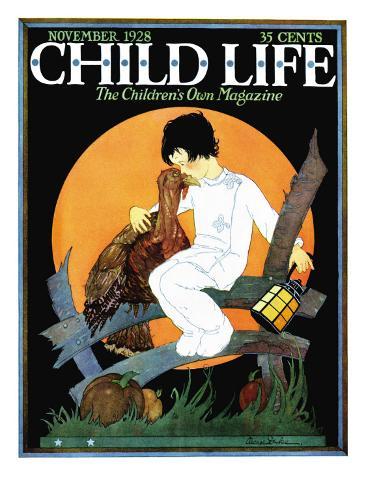 Pet Turkey - Child Life, November 1928 Stretched Canvas Print