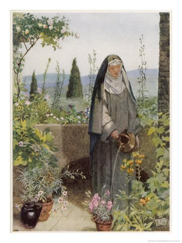 Clare of Assisi Tending to Plants Giclee Print