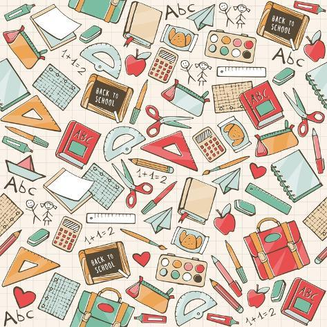 Back to School Seamless Pattern with Hand Drawn School Supplies, Books and Stationery Art Print
