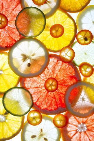 Sliced Citrus Fruits Background Valokuvavedos