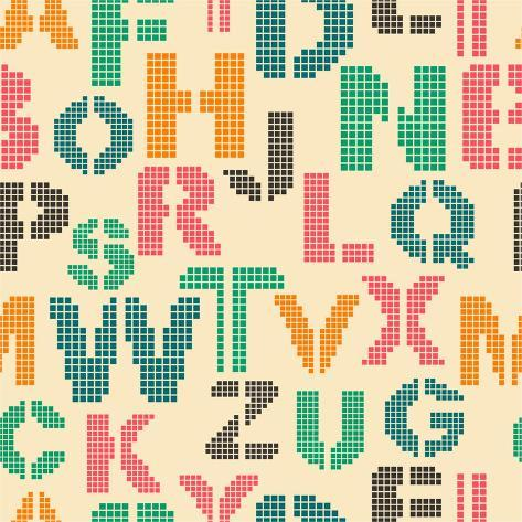 Seamless Pattern with Letters of the Alphabet Art Print