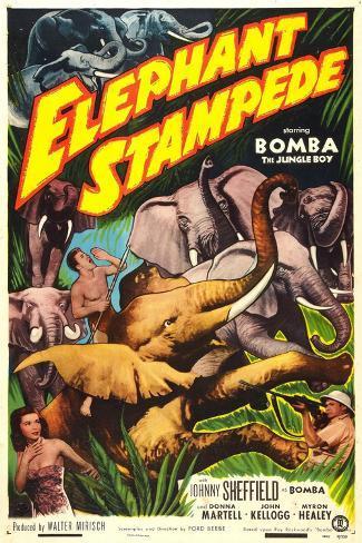 Elephant Stampede Art Print