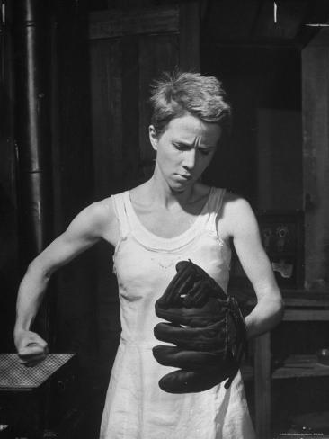 Actress Julie Harris, Punching a Baseball Glove in Scene from Play